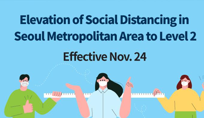 Elevation of Social Distancing in Seoul Metropolitan Area to Level 2 Effective Nov.24