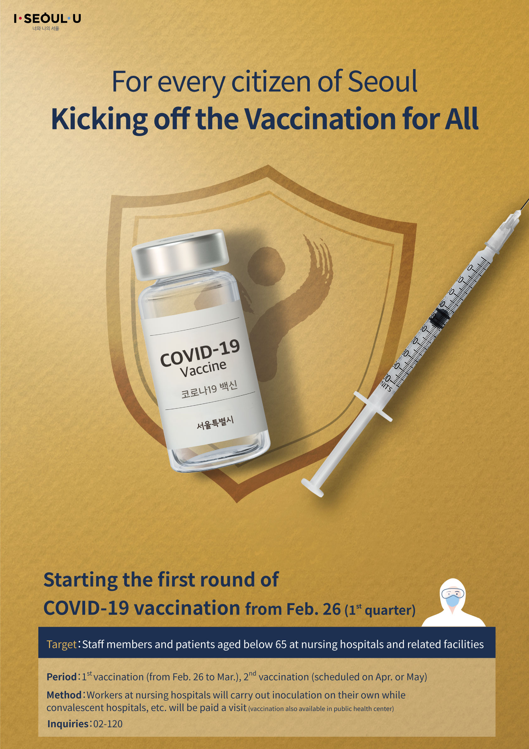 For every citizen of Seoul Kicking off the Vaccination for All Starting the first round of COVID-19 vaccination from Feb. 26 (1st quarter) Target: Staff members and patients aged below 65 at nursing hospitals and related facilities Period: 1st vaccination (from Feb. 26 to Mar.); 2nd vaccination (scheduled on Apr. or May) Method: Workers at nursing hospitals will carry out inoculation on their own while convalescent hospitals, etc. will be paid a visit (vaccination also available in public health center) Inquiries: 02-120