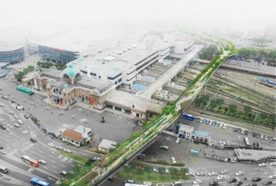Image du parc des citoyens et de la culture qui sera construit à la place de la route suspendue de la gare de Séoul