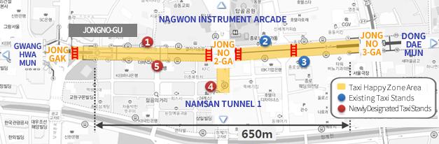 Gwanghwamun Jinggak Jongno-gu Nagwon Instrument Arcade Jongno 2-ga Namsan Tunnel 1 Jongno 3-ga Dongdaemun Taxi Happy Zone Area Existing Taxi Stands Newly Designated Taxi Stands