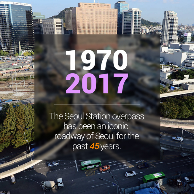 1970<br /> 2017<br /> The Seoul Station overpass has been an iconic roadway of Seoul for the past 45 years.