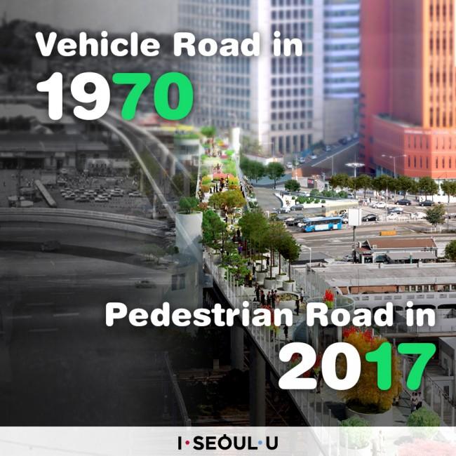 Vehicle Road in 1970 Pedestrian Road in 2017