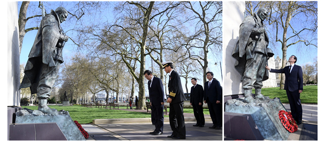 Mayor Park Lays Flowers at the Korean War Memorial in London