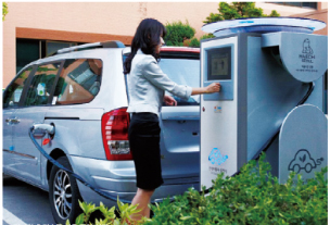 A citizen charging her EV