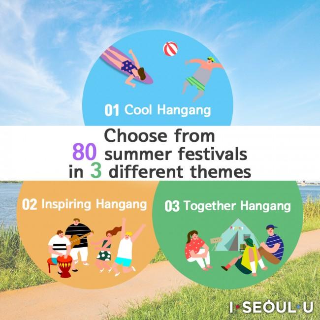 Cool Hangang, Inspiring Hangang, Together Hangang Choose from 80 summer festivals