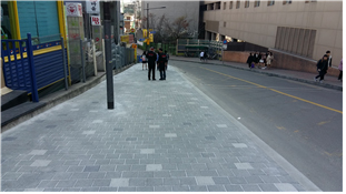 After expansion of the sidewalk