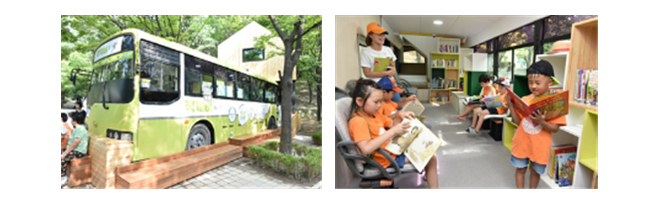 Installation of a small library utilizing a discarded bus Improved the environment in areas with underdeveloped cultural life