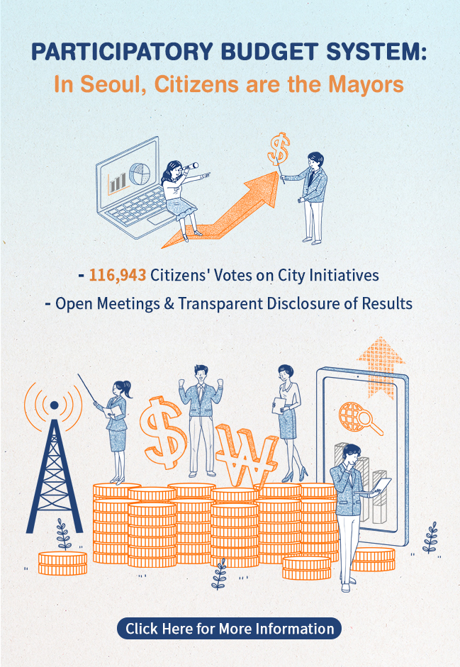 ParTiCipatory Budget System:In Seoul, Citizens are the Mayors - 116,943 Citizens' Votes on City Initiatives - Open Meetings & Transparent Disclosure of Results Click Heret for More Information