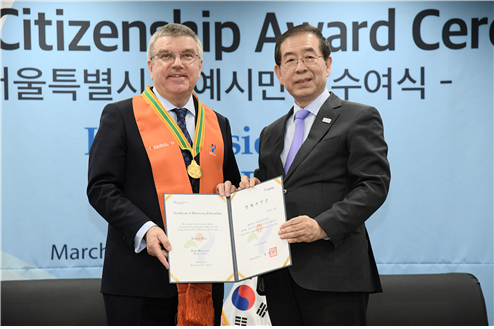 "IOC's chairman Thomas Bach became a ""Seoul's Honorary Citizen"""