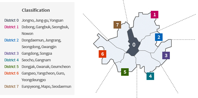 Map of Seoul City Station Regions