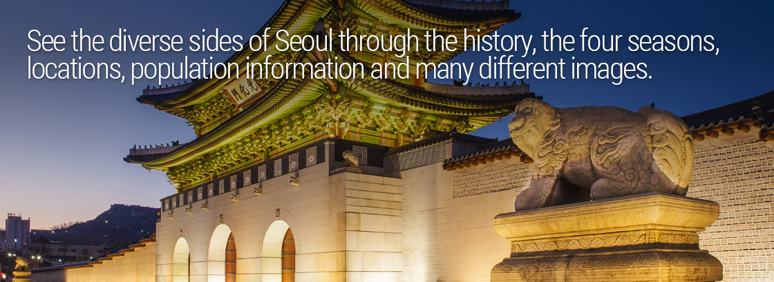 See the diverse sides of Seoul through the history, the four seasons, locations, population information and many different images.