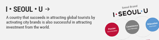I • SEOUL • U: A country that succeeds in attracting global tourists by activating city brands is also successful in attracting investment from the world.