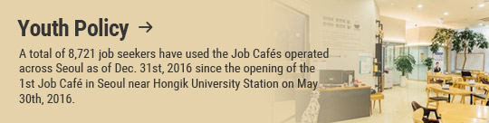 Youth Policy: A total of 8,721 job seekers have used the Job Cafés operated across Seoul as of Dec. 31st, 2016 since the opening of the 1st Job Café in Seoul near Hongik University Station on May 30th, 2016.
