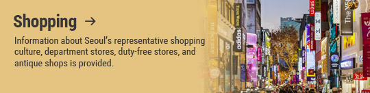 Shopping → Information about Seoul's representative shopping culture, department stores, duty-free stores, and antique shops is provided.