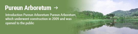 Pureun Arboretum → Introduction Pureun Arboretum Pureun Arboretum, which underwent construction in 2009 and was opened to the public