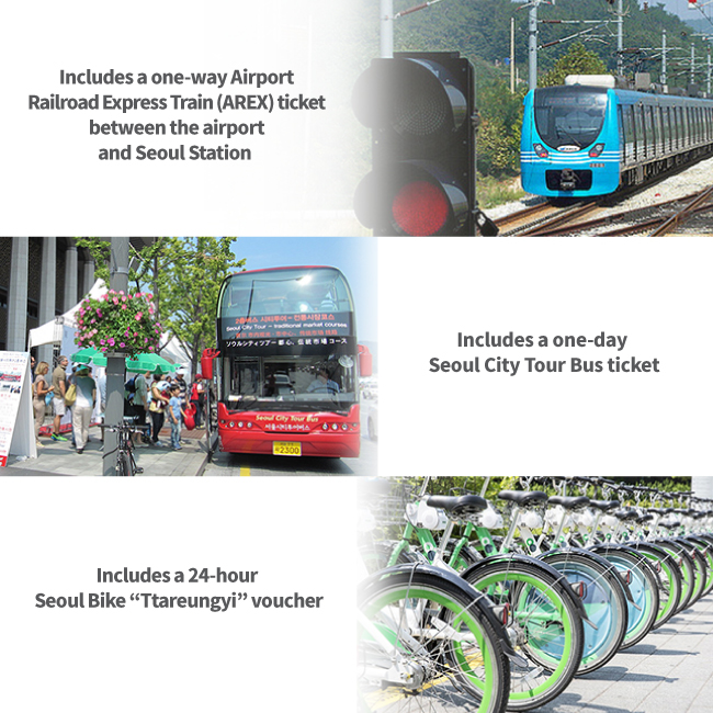 "Includes a one-way Airport Railroad Express Train (AREX) ticket between the airport and Seoul Station, Includes a one-day Seoul City Tour Bus ticket, Includes a 24-hour Seoul Bike ""Ttareungyi"" voucher"