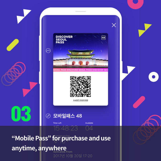 """Mobile Pass"" for purchase and use anytime, anywhere"