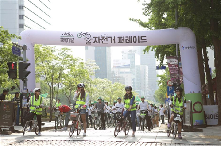 ▲ Beginning of the 1st Seoul Bicycle Parade