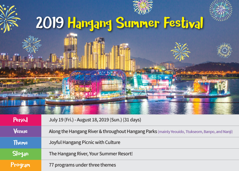 Period	July 19 (Fri.) - August 18, 2019 (Sun.) (31 days) Venue	Along the Hangang River and throughout Hangang Parks (mainly Yeouido, Ttukseom, Banpo, and Nanji) Theme	Joyful Hangang Picnic with Culture Slogan	The Hangang River, Your Summer Resort! Program	77 programs under three themes