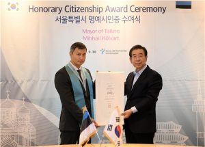 Seoul Bestows Honorary Citizenship of Seoul to Mayor of Tallinn, Estonia