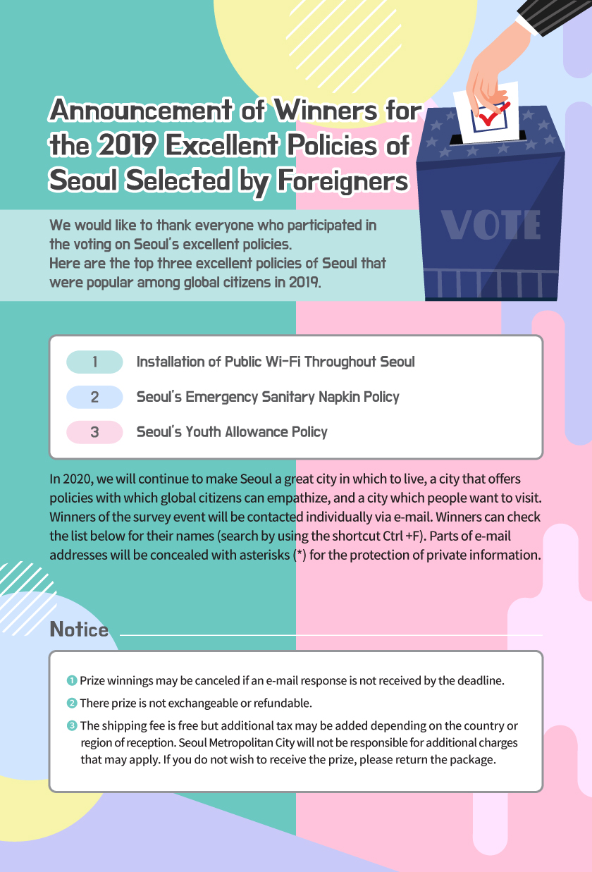 Announcement of Winners for  the 2019 Excellent Policies of  Seoul Selected by Foreigners We would like to thank everyone who participated in  the voting on Seoul's excellent policies.  Here are the top three excellent policies of Seoul that  were popular among global citizens in 2019. 1. Installation of Public Wi-Fi Throughout Seoul, 2. Seoul's Emergency Sanitary Napkin Policy, 3. Seoul's Youth Allowance Policy In 2020, we will continue to make Seoul a great city in which to live, a city that offers  policies with which global citizens can empathize, and a city which people want to visit.  Winners of the survey event will be contacted individually via e-mail. Winners can check  the list below for their names (search by using the shortcut Ctrl +F). Parts of e-mail  addresses will be concealed with asterisks (*) for the protection of private information. Notice ❶ Prize winnings may be canceled if an e-mail response is not received by the deadline. ❷ There prize is not exchangeable or refundable. ❸ The shipping fee is free but additional tax may be added depending on the country or        region of reception. Seoul Metropolitan City will not be responsible for additional charges        that may apply. If you do not wish to receive the prize, please return the package.