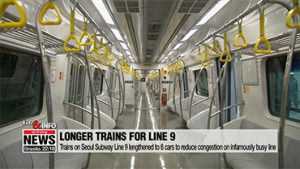 Trains on Seoul Subway Line 9 lengthened to 6 cars to reduce congestion on infamously busy line