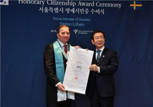 Prime Minister of Sweden Awarded Honorary Citizenship of Seoul