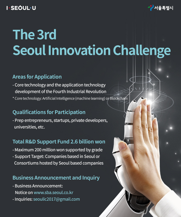 3rd Seoul Innovation Challenge Areas for application  -Core Technology and the application technology development of the Fourth Industrial Revolution  * Core technology: Artificial Intelligence (machine learning) or Blockchain Qualifications for participation -Prep entrepreneur, startups, private developers, universities, etc. Total R&D Support fund 2.6 billion won -Maximum 200 million won supported by grade -Support target: Companies based in Seoul or Consortiums hosted by Seoul based companies Application period March 6(WED), 2019-April 15(MON), 2019 Business announcement and inquiry -Business Announcement: Notice on www.sba.seoul.co.kr  -Inquiries: seoulic2017@gmail.com