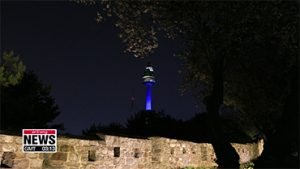 Seoul landmarks glow with blue lights to show gratitude to medical workers