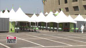 'Walk-Thru' COVID-19 test center at Jamsil Sports Complex