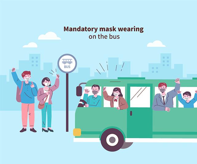 Mandatory mask wearing on the bus