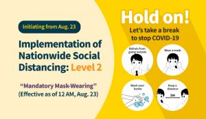 Implementation of Nationwide Social Distancing: Level 2 (Compulsory Mask-Wearing) (Effective as of 12 AM, Aug. 23)