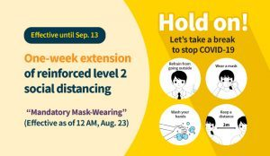 One-week extension of reinforced level 2 social distancing(9.7~9.13)