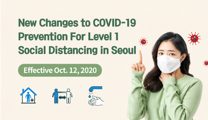New Changes to COVID-19 Prevention For Level 1 Social Distancing in Seoul Effective Oct. 12, 2020
