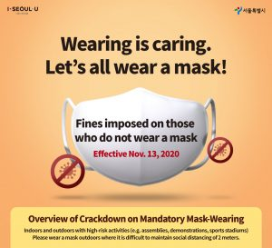 """Overview of crackdown on mandatory mask-wearing: """"Wearing is caring. Let's all wear a mask!"""""""