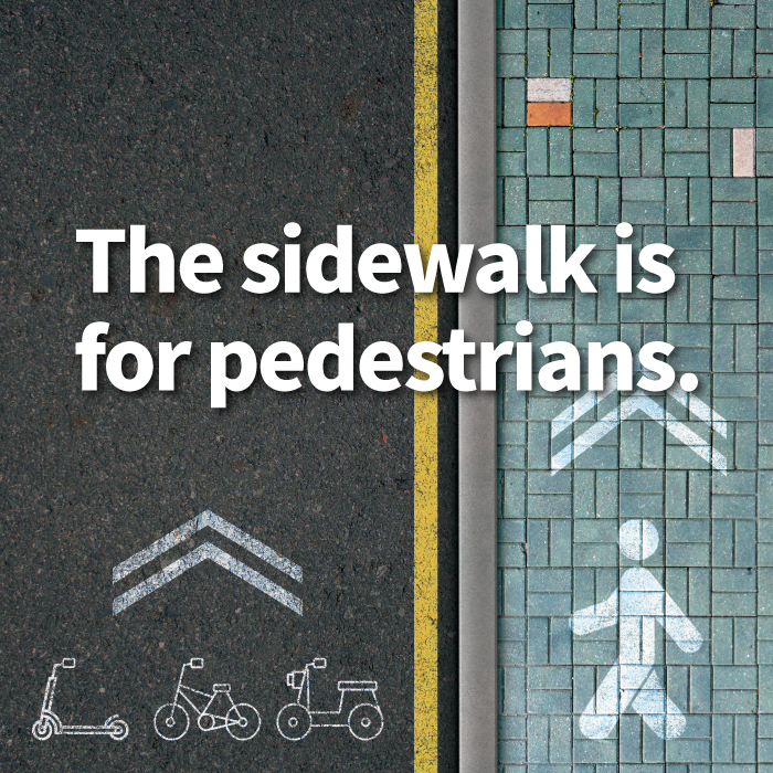 Observe the lines and be a good citizen. The sidewalk is for pedestrians. Electronic kickboards, bicycles, and motorcycles should observe the lines to protect pedestrians.