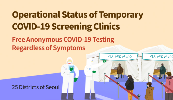 25 Districts of Seoul Operational Status of Temporary COVID-19 Screening Clinics Free Anonymous COVID-19 Testing Regardless of Symptoms
