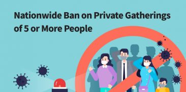 Nationwide Ban on Private Gatherings of 5 or More People