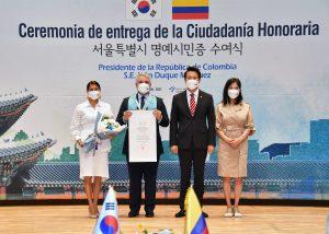 Colombian President Iván Duque Márquez Bestowed Honorary Seoul Citizenship
