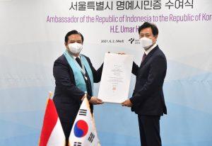 Indonesian Ambassador to South Korea Umar Hadi Bestowed Honorary Seoul Citizenship