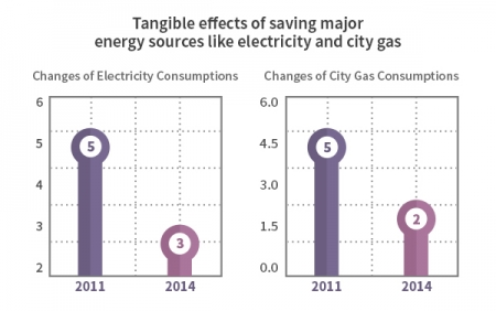 Tangible effects of saving major energy sources like electricity and city gas