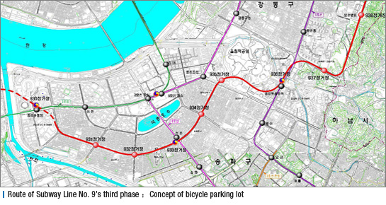 Route of Subway Line No. 9's third phase-Concept of bicycle parking lot