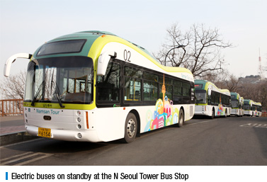 Electric buses on standby at the N Seoul Tower Bus Stop
