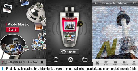 i Photo Mosaic application, Intro (left), a view of photo selection (center), and a completed mosaic (right)