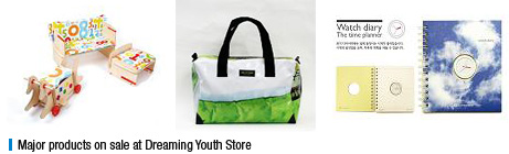 Major products on sale at Dreaming Youth Store