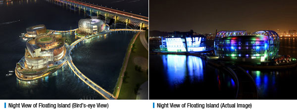 Night View of Floating Island (Bird's-eye View), Night View of Floating Island (Actual Image)