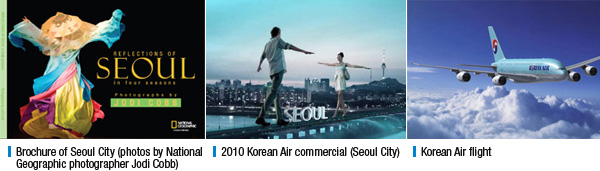 Brochure of Seoul City (photos by National Geographic photographer Jodi Cobb), 2010 Korean Air commercial (Seoul City), Korean Air flight