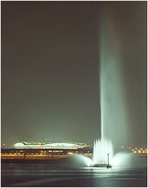 World Cup Water Fountain from Southern Hangang (River) at Night